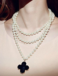 MIKI Stack Four Leaf Clover Dangling Pearl Necklace