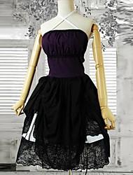 Straped Short Black Cotton Gothic Lolita Dress
