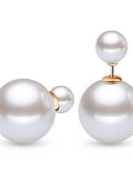 Mode Sterling Silver White Pearl Boucles d'oreilles (1 paire)