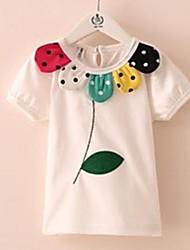 Abby Girl's Fashion Joker bloem bladeren Ronde kraag korte mouwen T-shirt