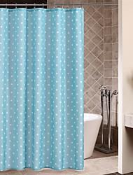Minimalista sólida cortina de ducha de lunares blancos Azul