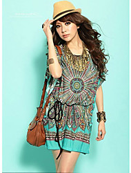 Women's Bohemian Print Dress,Round Neck Short Sleeve