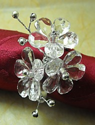 Crystal Flower Napkin Ring,Acrylic Beades, 3.5CM, Set of 12,
