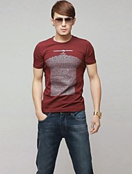 Men's Round Collar Casual Pritn Cotton Short Sleeve T-Shirts