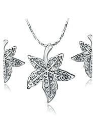 18K White Gold Plated Crystal Leaves Pendant Jewelry Necklace Earrings Sets