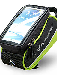INBIKE 5.5 Inch Polyester and EVA Black and Green Front Bag with Transparent PVC Touchable Mobile Phone Screen