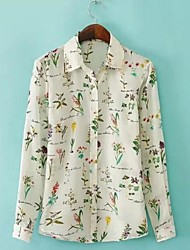 Women's Casual/Daily Simple Spring / Summer / Fall Shirt,Print Shirt Collar Long Sleeve Multi-color Thin