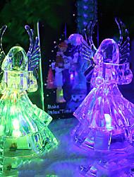 LED Table Lamp,1 Light,Artistic Angel Shape Transparent Color Changing Plastic-4.5V
