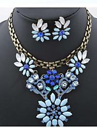 Diamond Flowers  Alloy (Necklaces&Earrings&) Gemstone Jewelry Sets(Blue)