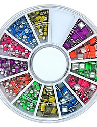 600PCS Mix Colour Square and Round Shape Neon Metal Studs Set Nail Art Decoration