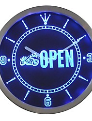 Motorcycle Biker OPEN Auto Shop Neon Sign LED Wall Clock