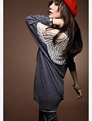 SSMN manches chauve-souris la dentelle des femmes découpé long T-shirt