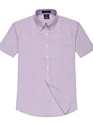 Été formelles affaires manches courtes Modal Chemises Oxford U-requin Hommes Violet rayé blanc Blouse Top EOZY
