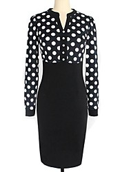 Women's Vintage V-Neck Dot Slim Long Sleeve Midi Dress