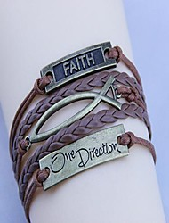 Unisex's Vintage One Direction Fish Wax Rope PU Handmade Woven Bracelet