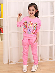 Girl's Fashion Casual Cartoon Flower Printed Sport Suit (Including Shirt,Pants)