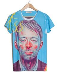 Col rond hommes manches courtes 3D Print Peintre T-shirt