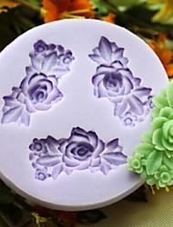 drei Blumen-Back Fondantkuchen choclate Süßigkeiten Schimmel, l6.1cm * w5.9cm * h0.9cm