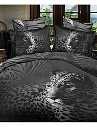 Ailianna 4 Piece 3D HD Cheetah Print Duvet Set