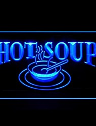 Hot Soup Restaurant Food Green Blue Red White Orange Purple Yellow Advertising LED Light Sign