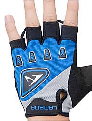 LAMBDA Blue Cycling Breathable Mesh Silica Gel Bike Half Finger Gloves