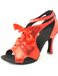 Customizable Women's Dance Shoes Latin/Salsa Leatherette Customized Heel Red/Gold