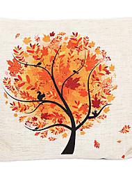 País da árvore da queda de algodão / linho decorativa fronha