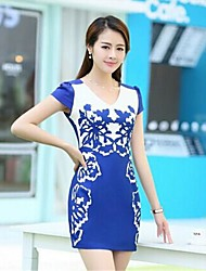 Women's Blue And White Porcelain Slim Chiffon Dress