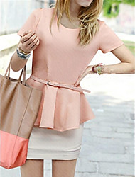 Women's Solid Pink/White Blouse , Round Neck Short Sleeve Ruffle
