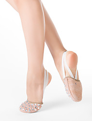 Fabric Half Ballet Slipper With Rhinestone & Suede Leather Out Sole