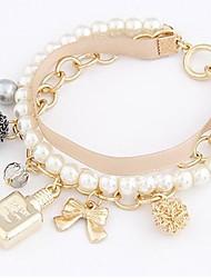 Lureme®Perfume Bottles Pearl Bowknot Multilayer Bracelet