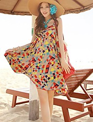 Women's Beach Dress Knee-length Sleeveless Cotton Summer