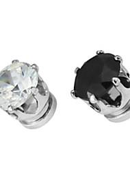Men's Round Rhinestone Magnet Cilp Earrings