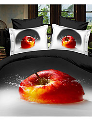 Shuian® Duvet Cover Set,4 Piece Suit Comfort Simple Modern Ventilation Printed 3D Apple Pattern Full