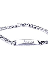 Personalized Gift Stainless Steel  Jewelry Engraved ID Bracelets 0.7cm Width