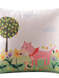de dibujos animados de algodón perro rosado / ropa cubierta decorativa almohada