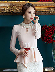 JingSha Women's Chiffon Diamonade Slim Waisted Backless Shirt