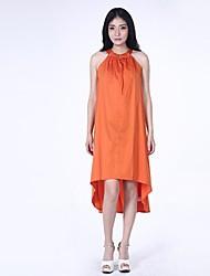 Women's Orange Dress , Bodycon/Casual Sleeveless