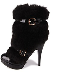 Women's Spring / Fall / Winter Platform / Round Toe / Fashion Boots Patent Leather Dress Stiletto Heel Buckle / Fur Black / White