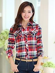 bs®women Hemdkragen lässig Check Chiffon Langarm-Shirt