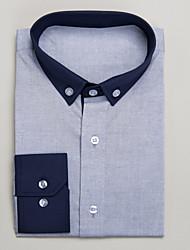 Dark Blue&Light Blue 100% Cotton Tailored Fit Long Sleeve Shirt