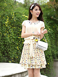 YPY Short Sleeve Floral Print Almond Dress