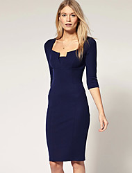 Abigail Solid Color Fashion Fitted Waist Dress