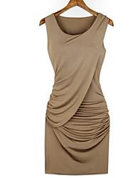 todo vestido sleevless color sólido partido E.9 de las mujeres