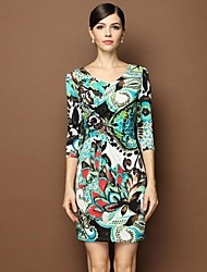 Women's V Neck Ln The Sleeve Design And Color Dresses