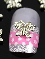 10pcs   3D Butterfly Rhinestone Alloy For  Finger Tips Jewelry Accessories Nail Art Decoration