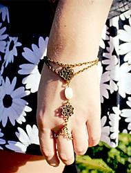 Shixin® Vintage White Bead Bronze Charm Bracelet(1 Pc)