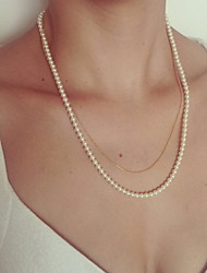 Shixin® Fashion Double Chain Pearl Golden Strand Necklace(1 Pc)
