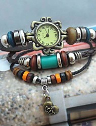 Women's Vintage Crown Pendant Style Leather Handmade Weave Band Quartz Analog Bracelet  Watch Cool Watches Unique Watches Fashion Watch