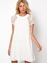 Back Slit Designs Lace Matching  Chiffon Dress With Three Button